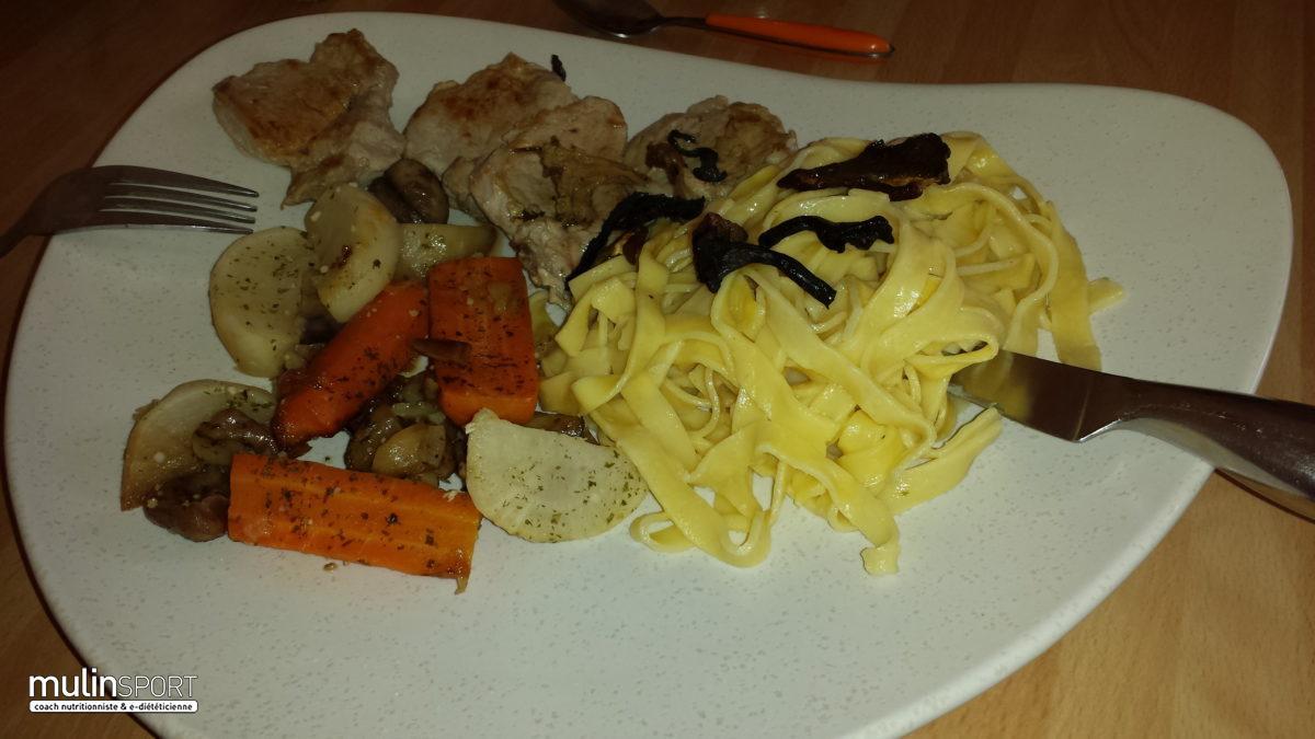 Légumes de saison et châtaignes à la cannelle, tagliatelles et filet mignon aux champignons des bois