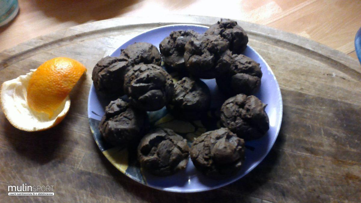 Muffins à la farine de riz, cacao, orange sans gluten