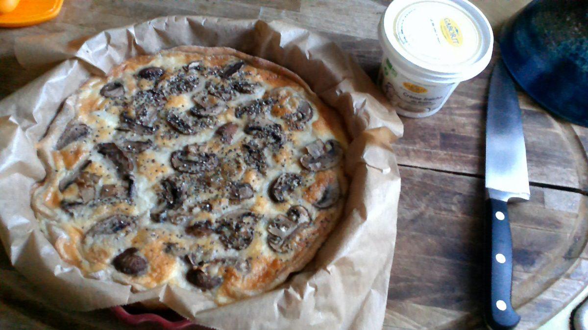 Tarte blés anciens🌾🌱 aux champignons de Paris et crème  fraîche de brebis