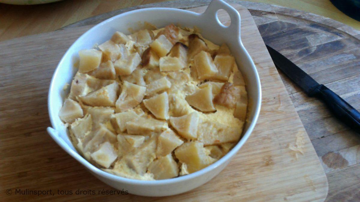 Mon pain perdu aux pommes, écorces d'orange, crème fraiche de brebis, sucre de coco🍞🍏🍞🍎Au Vitaliseur de Marion